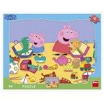 Puzzle cu rama La joaca cu Peppa Pig 12 piese