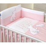 Set lenjerie din bumbac cu protectie laterala pentru pat bebelusi Bear Heart Pink 120x60 cm
