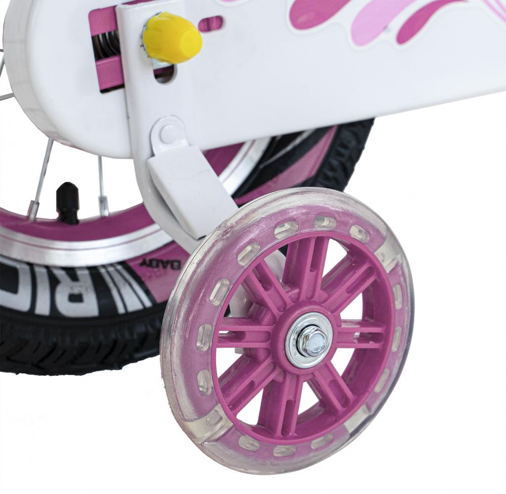 Bicicleta fete 2-4 ani 12 inch roti ajutatoare cu Led Rich Baby CSR1204A roz cu alb