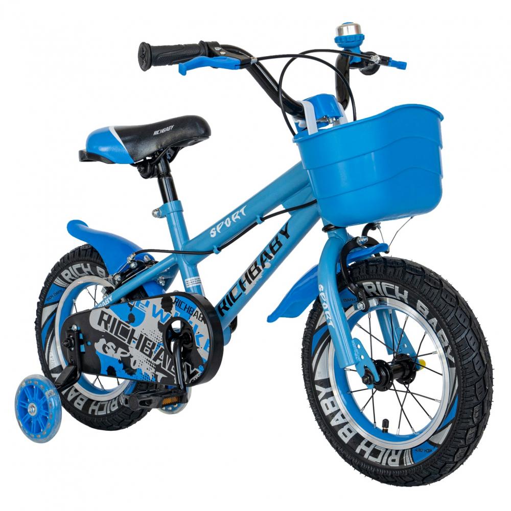 Bicicleta copii 2-4 ani 12 inch roti ajutatoare cu Led Rich Baby CSR1203A albastru cu negru