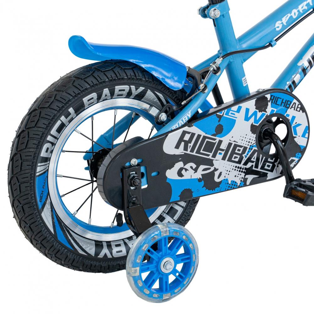 Bicicleta copii 2-4 ani 12 inch roti ajutatoare cu Led Rich Baby CSR1203A albastru cu negru - 2