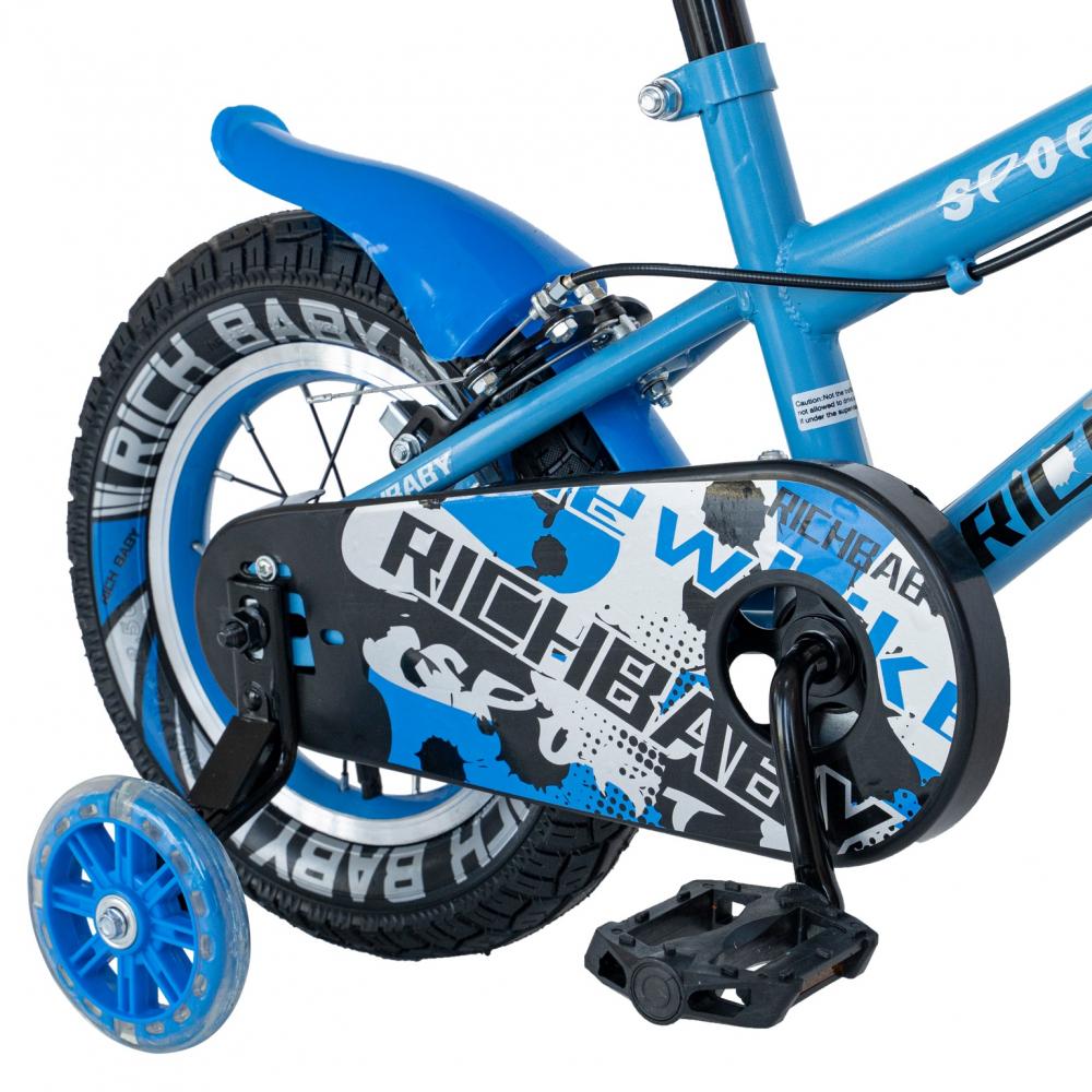 Bicicleta copii 2-4 ani 12 inch roti ajutatoare cu Led Rich Baby CSR1203A albastru cu negru - 3