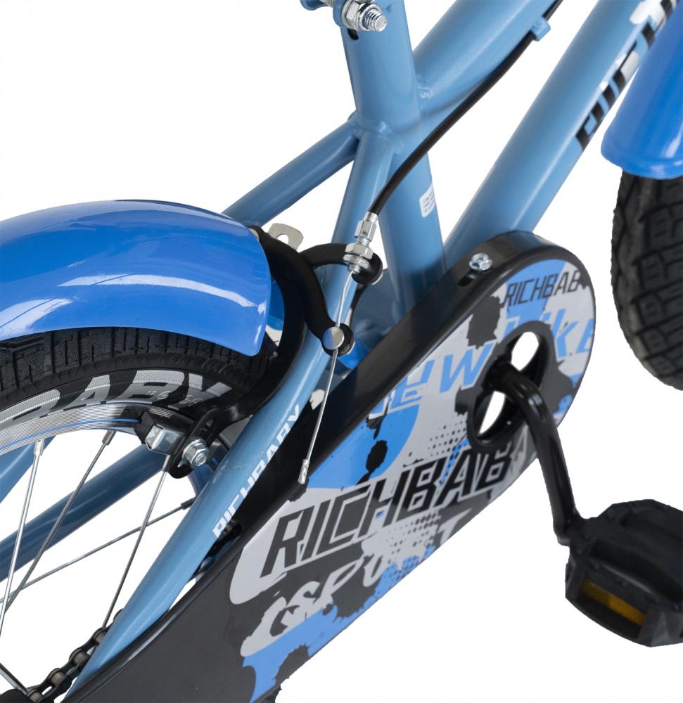 Bicicleta copii 2-4 ani 12 inch roti ajutatoare cu Led Rich Baby CSR1203A albastru cu negru - 4