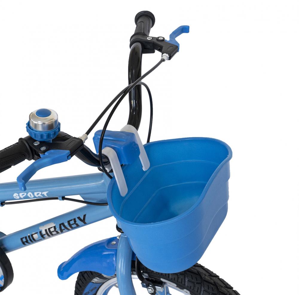 Bicicleta copii 2-4 ani 12 inch roti ajutatoare cu Led Rich Baby CSR1203A albastru cu negru - 6