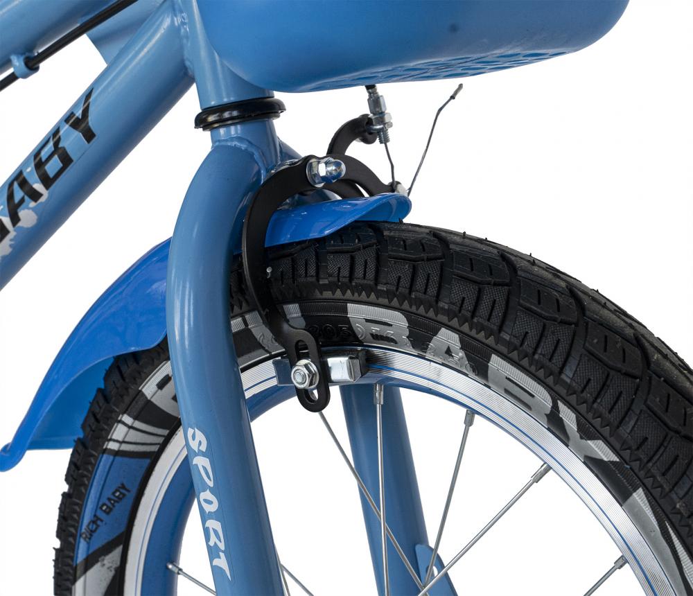 Bicicleta copii 2-4 ani 12 inch roti ajutatoare cu Led Rich Baby CSR1203A albastru cu negru - 7