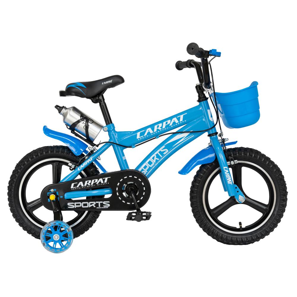 Bicicleta copii 3-5 ani 14 inch din magneziu roti ajutatoare cu Led Carpat Kids CSC1400A albastru alb - 1