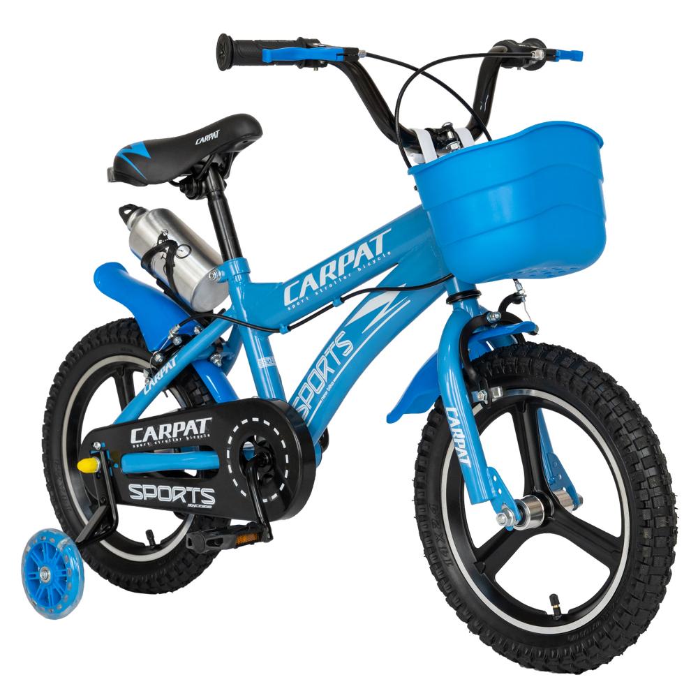 Bicicleta copii 3-5 ani 14 inch din magneziu roti ajutatoare cu Led Carpat Kids CSC1400A albastru alb
