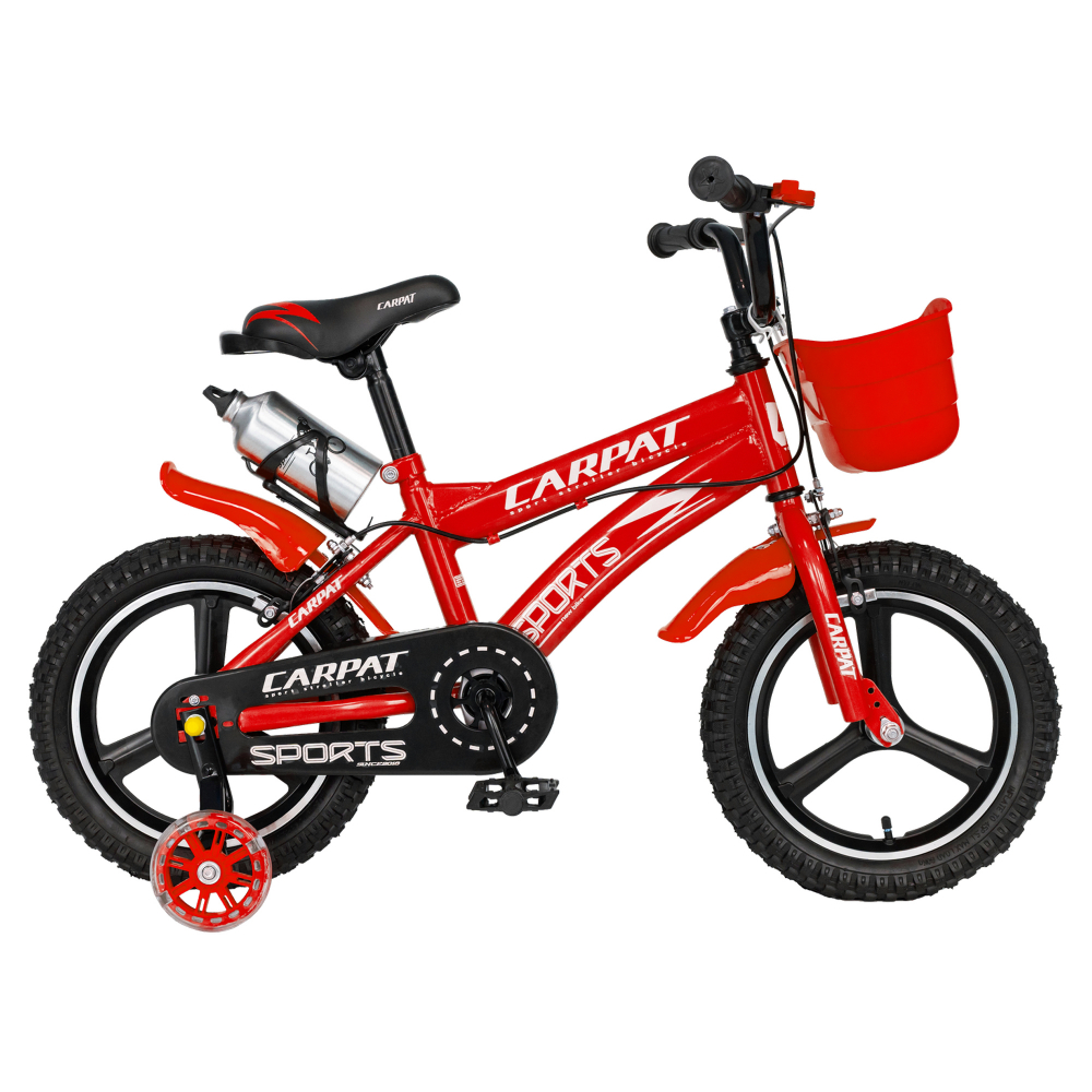 Bicicleta copii 3-5 ani 14 inch din magneziu roti ajutatoare cu Led Carpat Kids CSC1400A rosu alb - 1