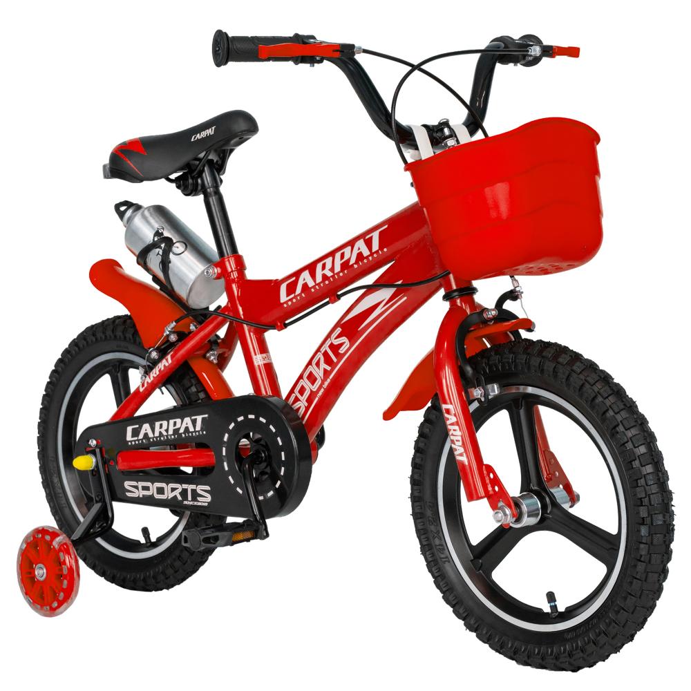 Bicicleta copii 3-5 ani 14 inch din magneziu roti ajutatoare cu Led Carpat Kids CSC1400A rosu alb