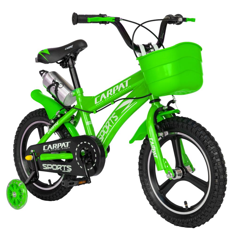 Bicicleta copii 3-5 ani 14 inch din magneziu roti ajutatoare cu Led Carpat Kids CSC1400A verde alb