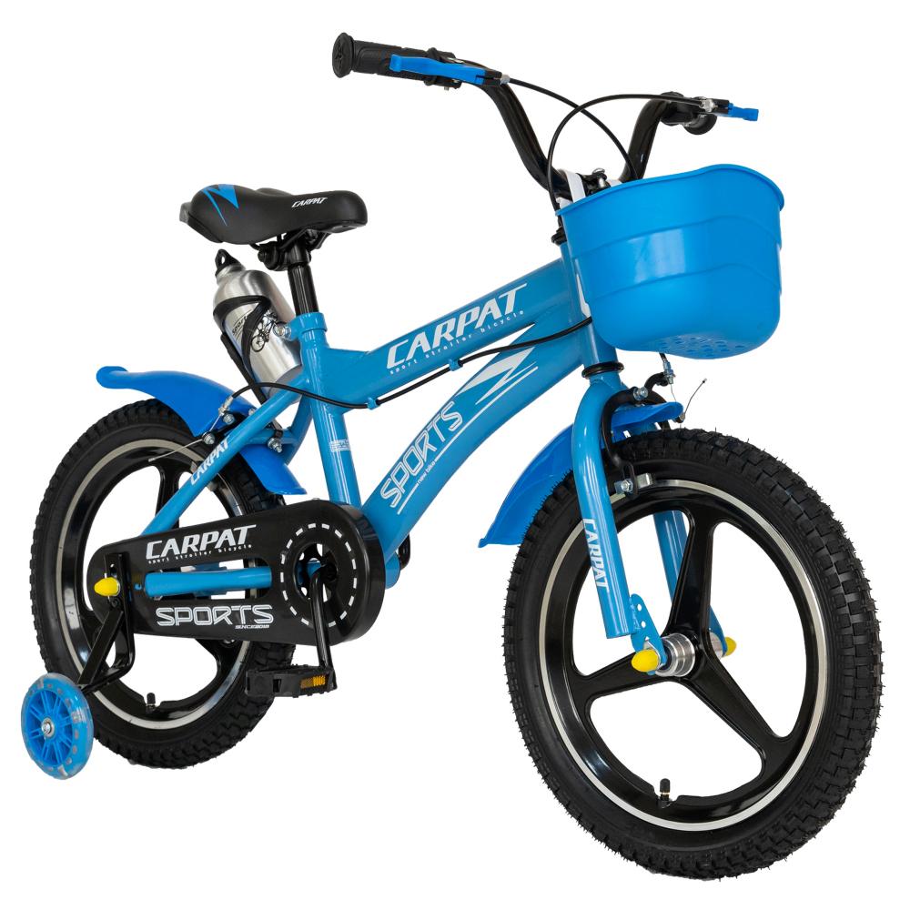 Bicicleta copii 4-6 ani 16 inch din magneziu roti ajutatoare cu Led Carpat Kids CSC1600A albastru alb