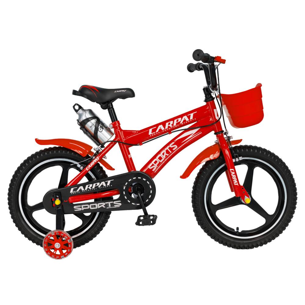 Bicicleta copii 4-6 ani 16 inch din magneziu roti ajutatoare cu Led Carpat Kids CSC1600A rosu alb - 2