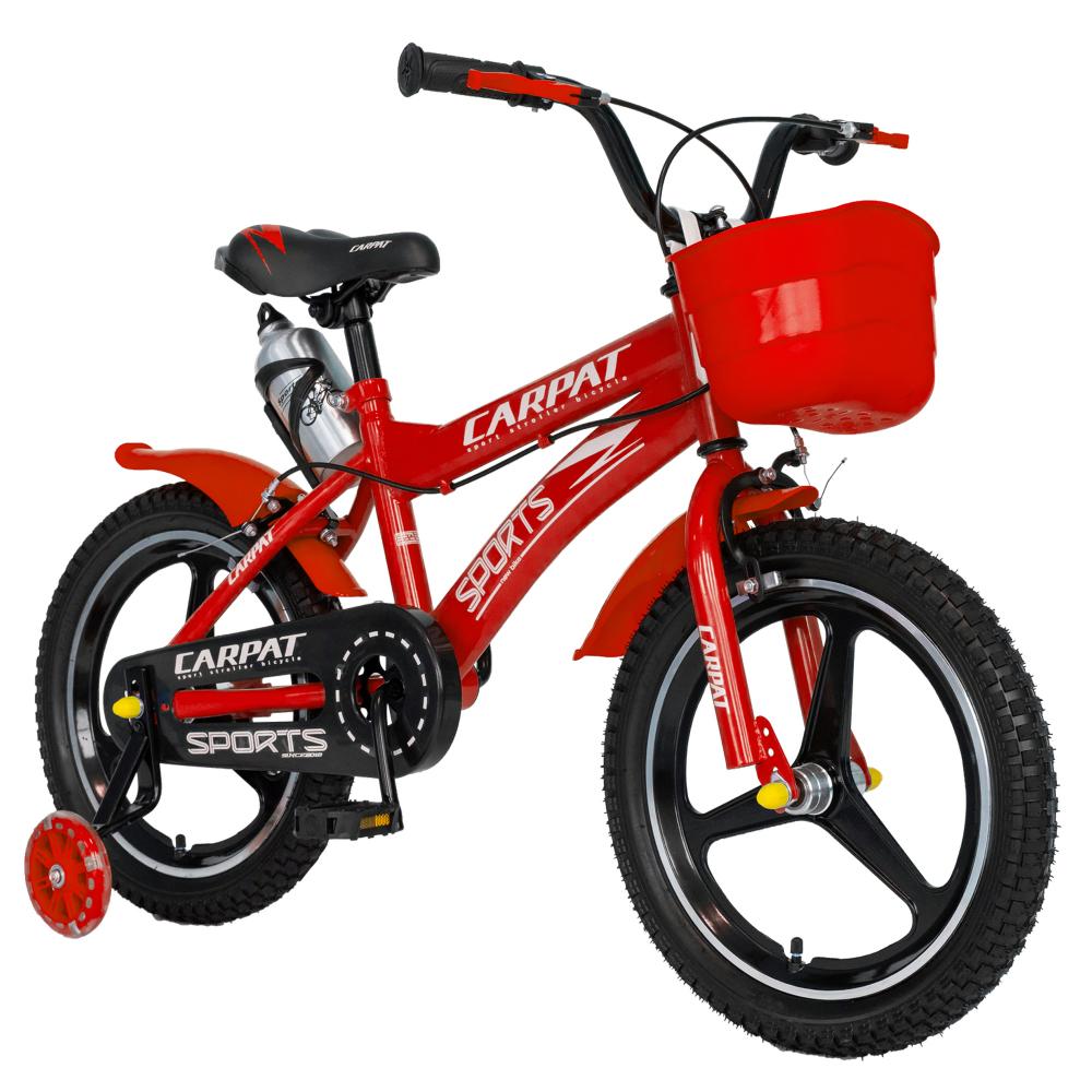 Bicicleta copii 4-6 ani 16 inch din magneziu roti ajutatoare cu Led Carpat Kids CSC1600A rosu alb