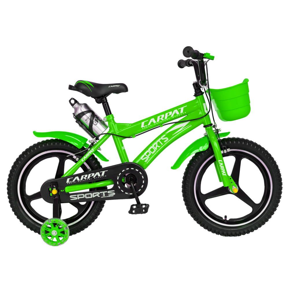 Bicicleta copii 4-6 ani 16 inch din magneziu roti ajutatoare cu Led Carpat Kids CSC1600A verde alb - 1