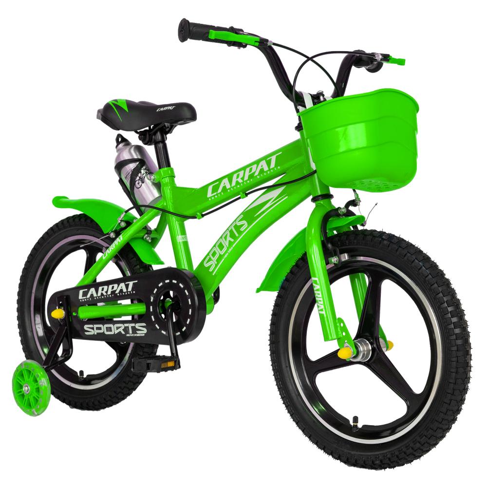 Bicicleta copii 4-6 ani 16 inch din magneziu roti ajutatoare cu Led Carpat Kids CSC1600A verde alb