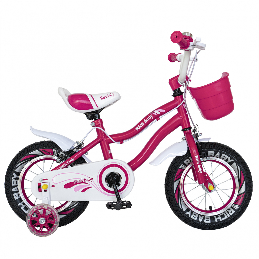 Bicicleta copii 4-6 ani 16 inch roti ajutatoare cu Led Rich Baby CSR1604A fucsia alb - 7