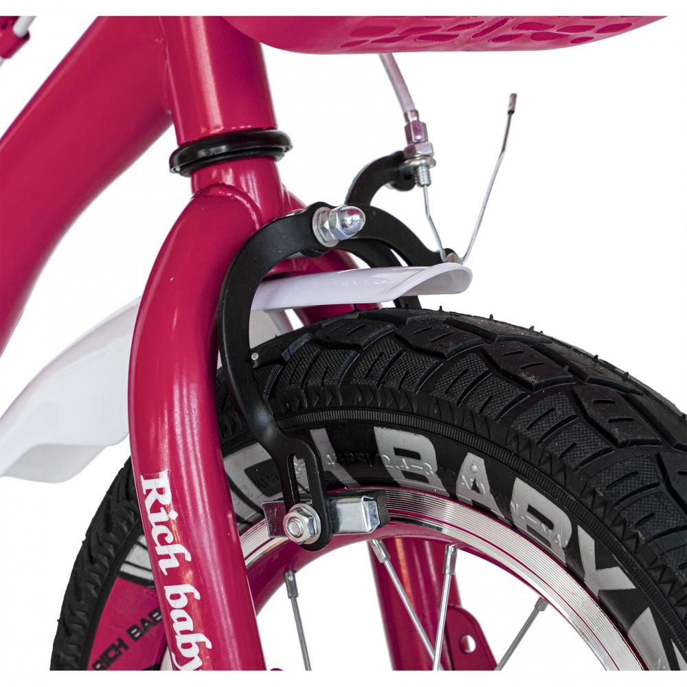 Bicicleta copii 4-6 ani 16 inch roti ajutatoare cu Led Rich Baby CSR1604A fucsia alb