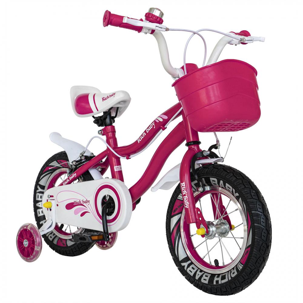 Bicicleta copii 4-6 ani 16 inch roti ajutatoare cu Led Rich Baby CSR1604A fucsia alb - 2