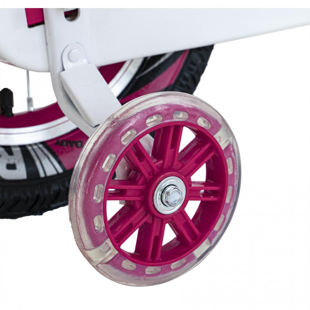 Bicicleta copii 4-6 ani 16 inch roti ajutatoare cu Led Rich Baby CSR1604A fucsia alb - 3