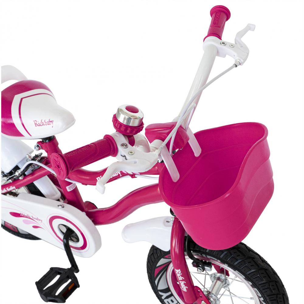 Bicicleta copii 4-6 ani 16 inch roti ajutatoare cu Led Rich Baby CSR1604A fucsia alb - 5