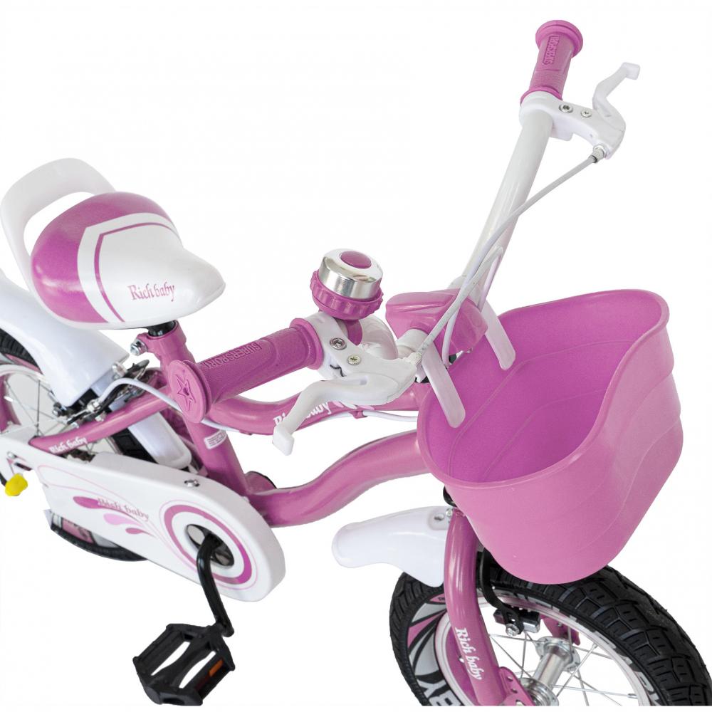 Bicicleta copii 4-6 ani 16 inch roti ajutatoare cu Led Rich Baby CSR1604A roz alb