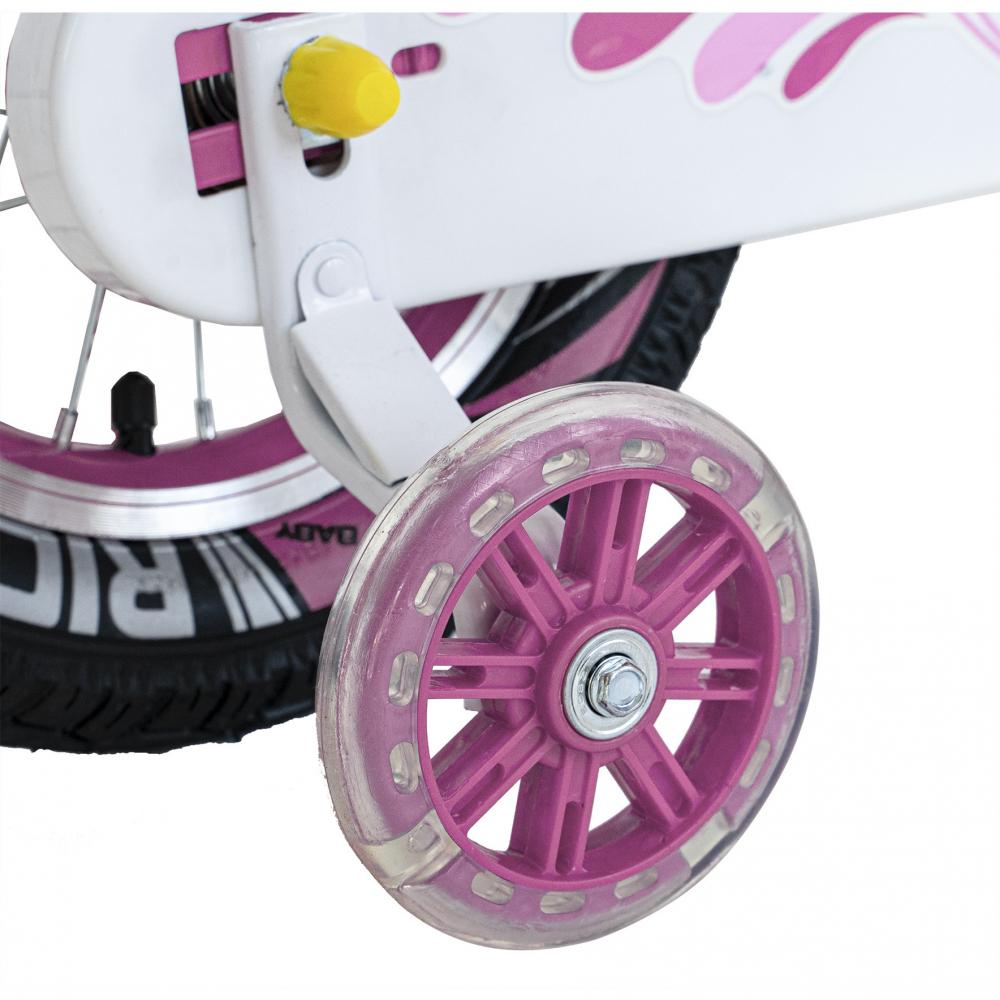 Bicicleta copii 4-6 ani 16 inch roti ajutatoare cu Led Rich Baby CSR1604A roz alb - 2