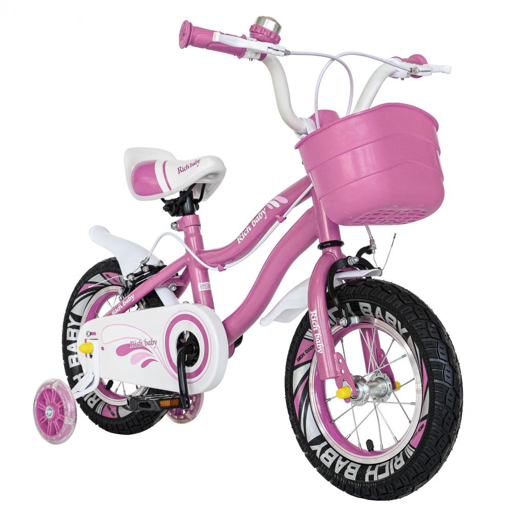 Bicicleta copii 4-6 ani 16 inch roti ajutatoare cu Led Rich Baby CSR1604A roz alb - 3