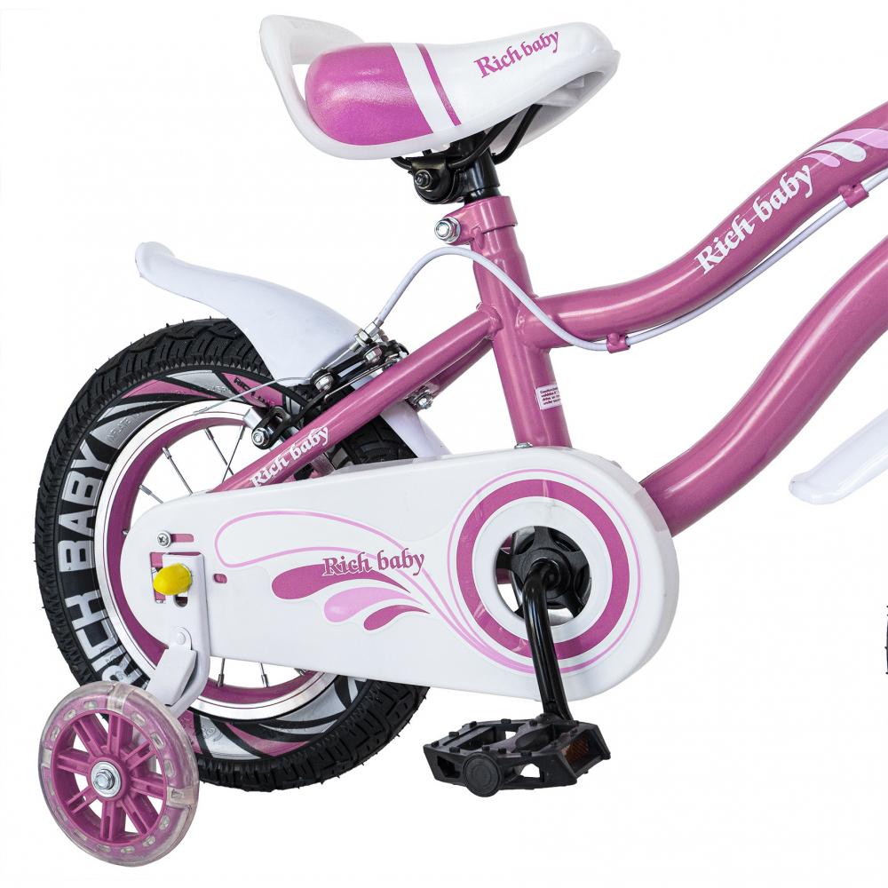 Bicicleta copii 4-6 ani 16 inch roti ajutatoare cu Led Rich Baby CSR1604A roz alb - 5