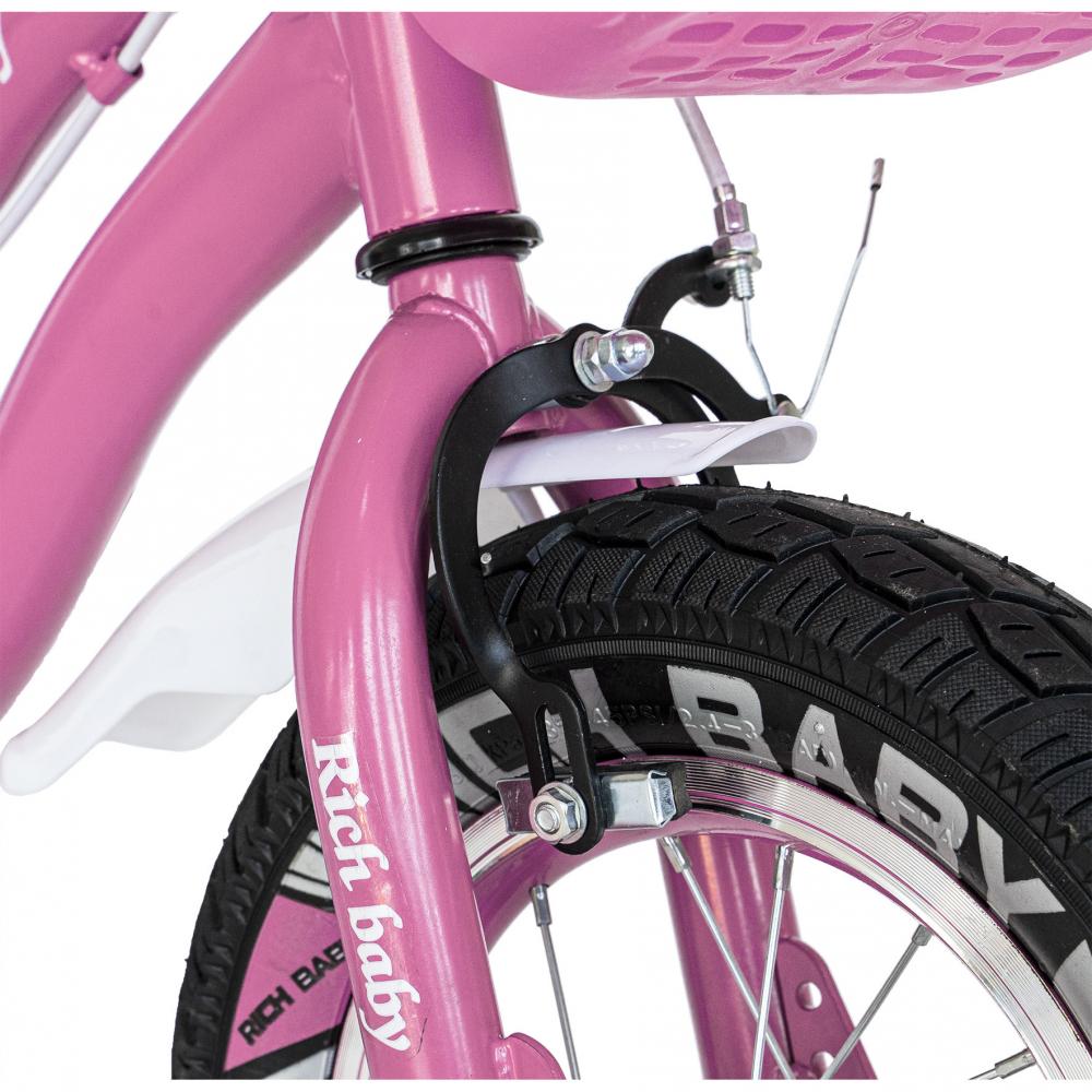 Bicicleta copii 4-6 ani 16 inch roti ajutatoare cu Led Rich Baby CSR1604A roz alb - 6
