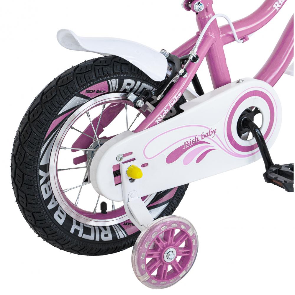 Bicicleta copii 4-6 ani 16 inch roti ajutatoare cu Led Rich Baby CSR1604A roz alb - 7