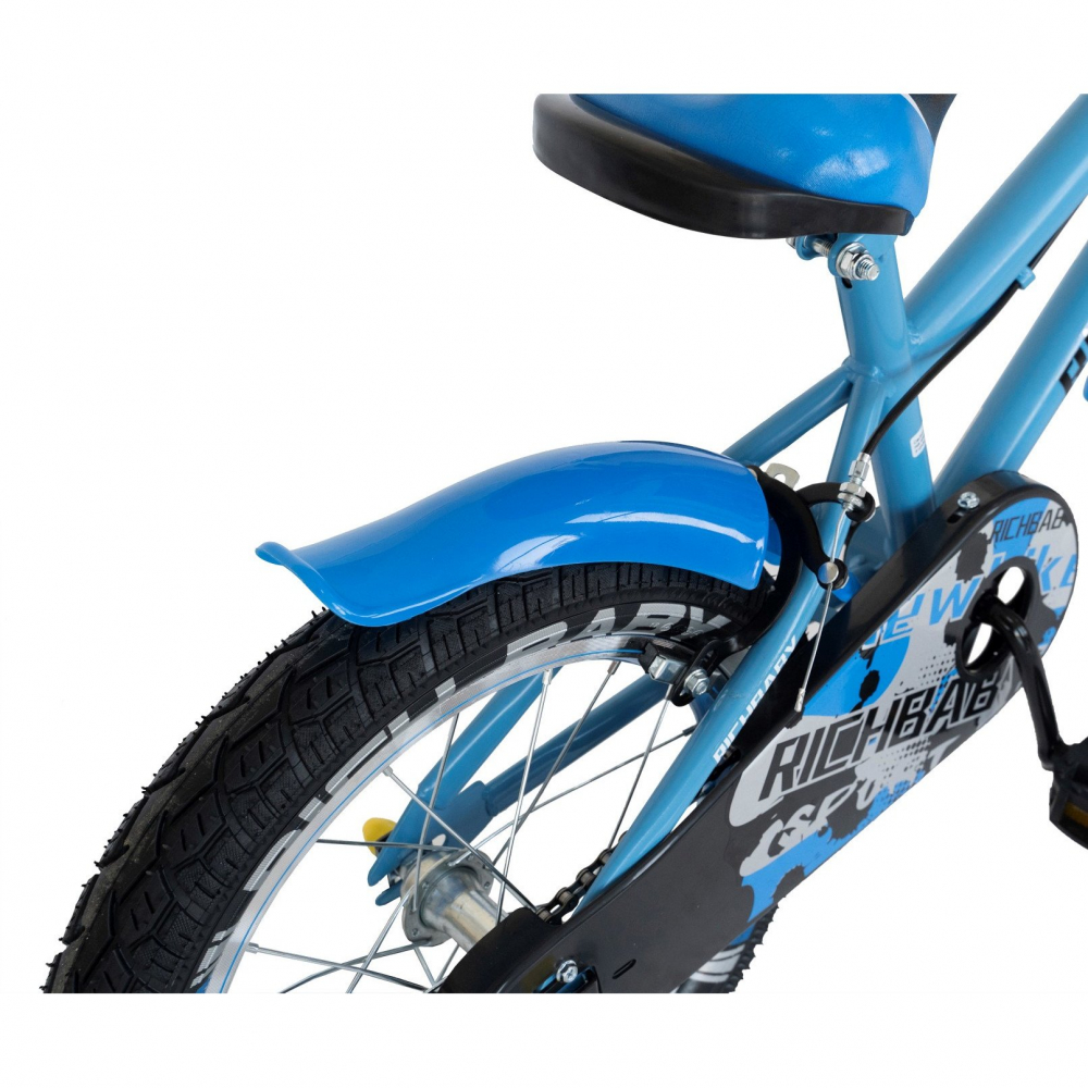 Bicicleta copii 7-10 ani 20 inch C-Brake Rich Baby CSR2003A albastru cu design negru
