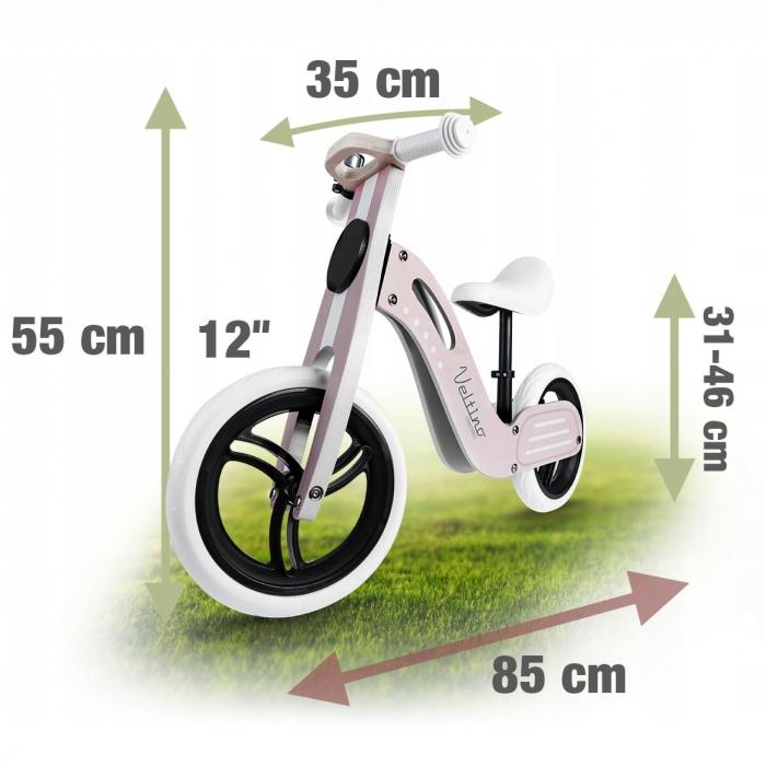 Bicicleta de lemn fara pedale Ricokids Veltino RC-619 Roz - 4