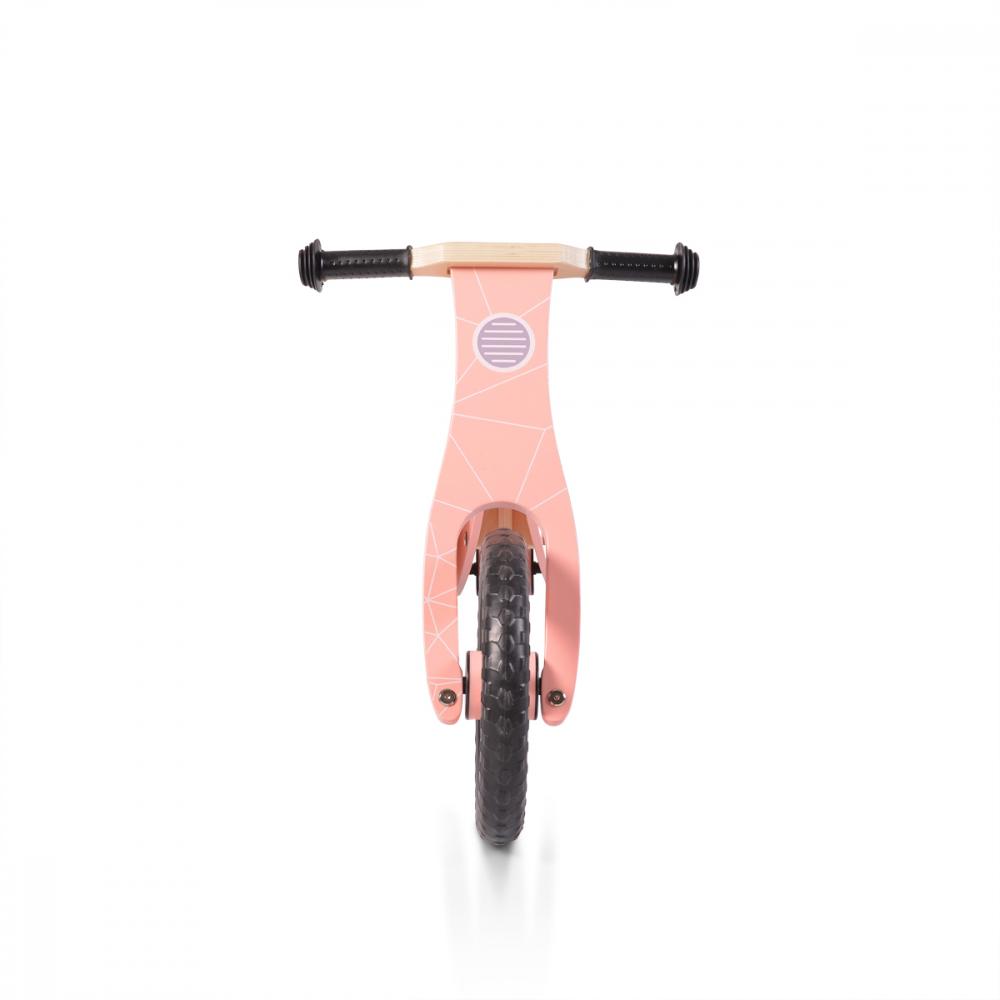 Bicicleta din lemn fara pedale Moni Wooden balance bike Pink