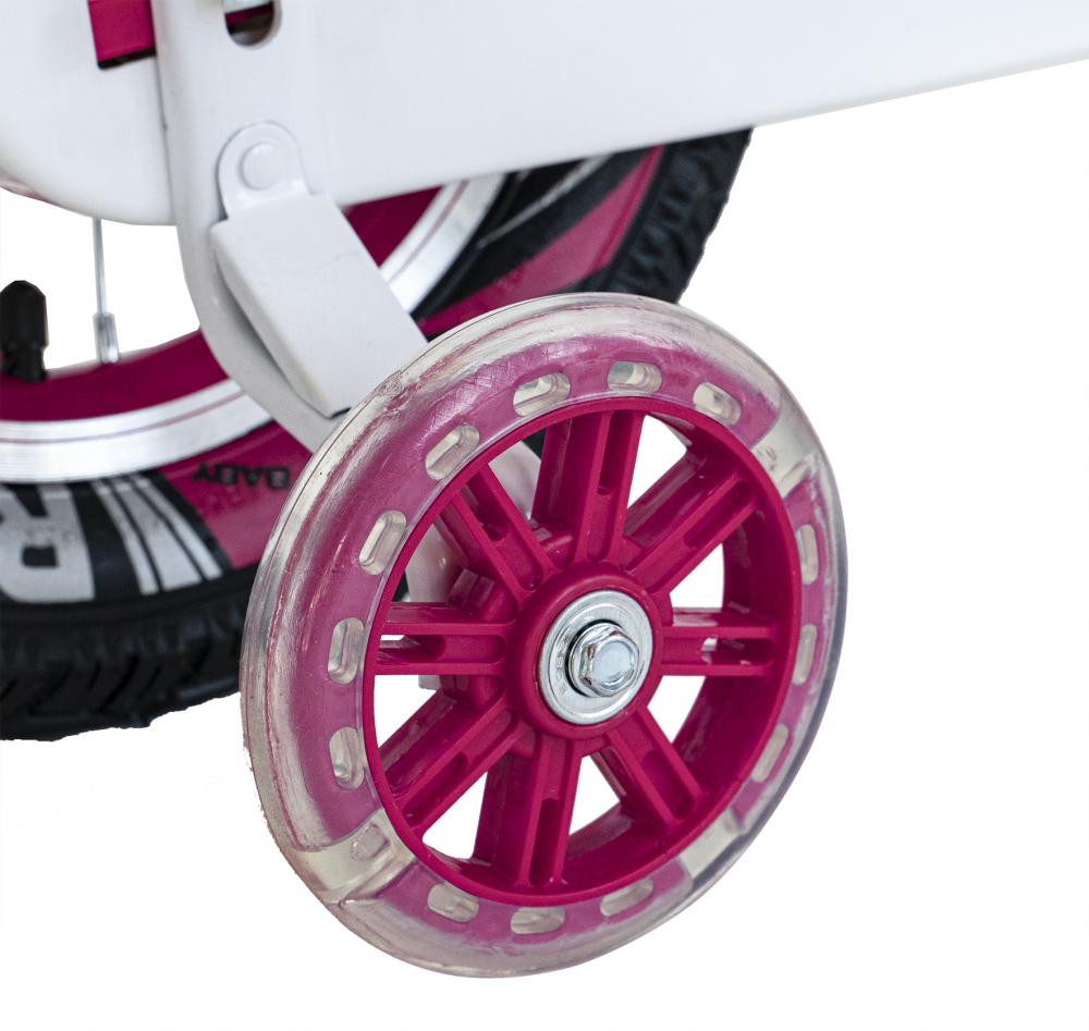Bicicleta fete 2-4 ani 12 inch roti ajutatoare cu Led Rich Baby CSR1204A fucsia cu alb - 1