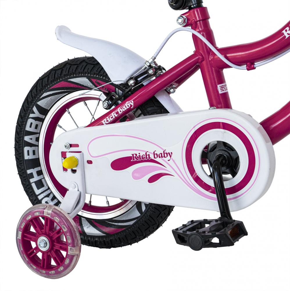Bicicleta fete 2-4 ani 12 inch roti ajutatoare cu Led Rich Baby CSR1204A fucsia cu alb - 3
