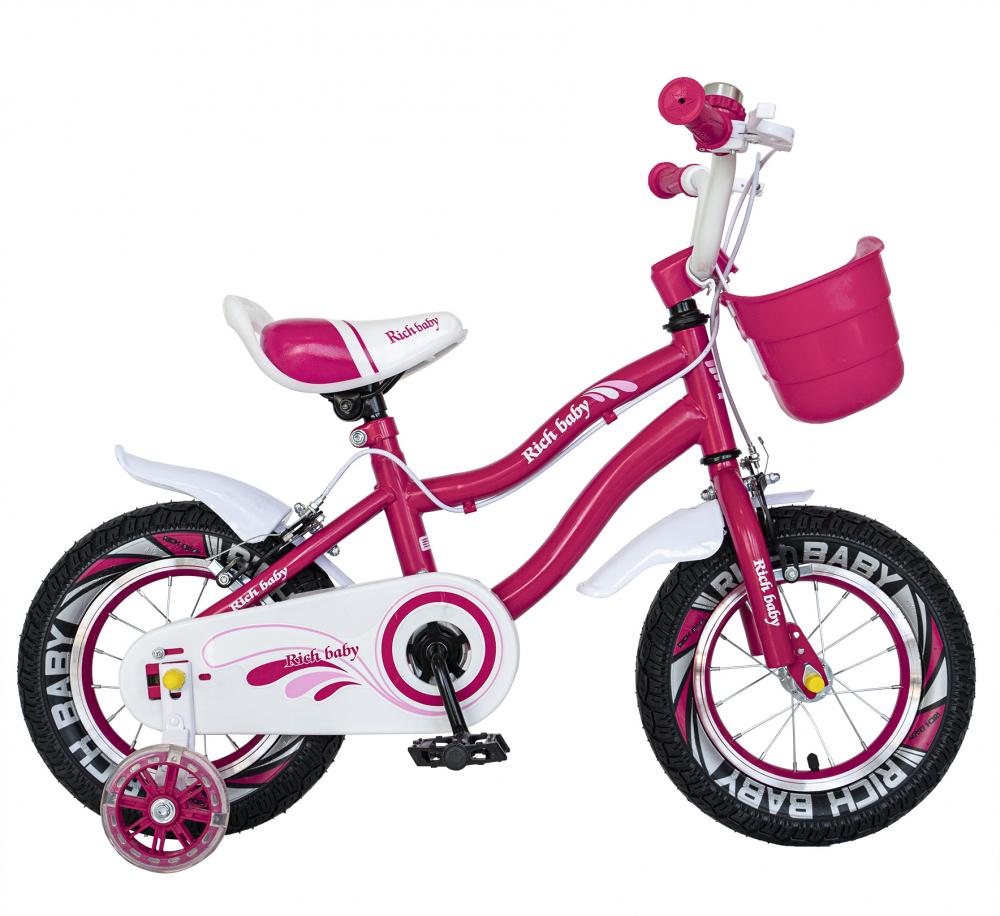 Bicicleta fete 2-4 ani 12 inch roti ajutatoare cu Led Rich Baby CSR1204A fucsia cu alb - 7