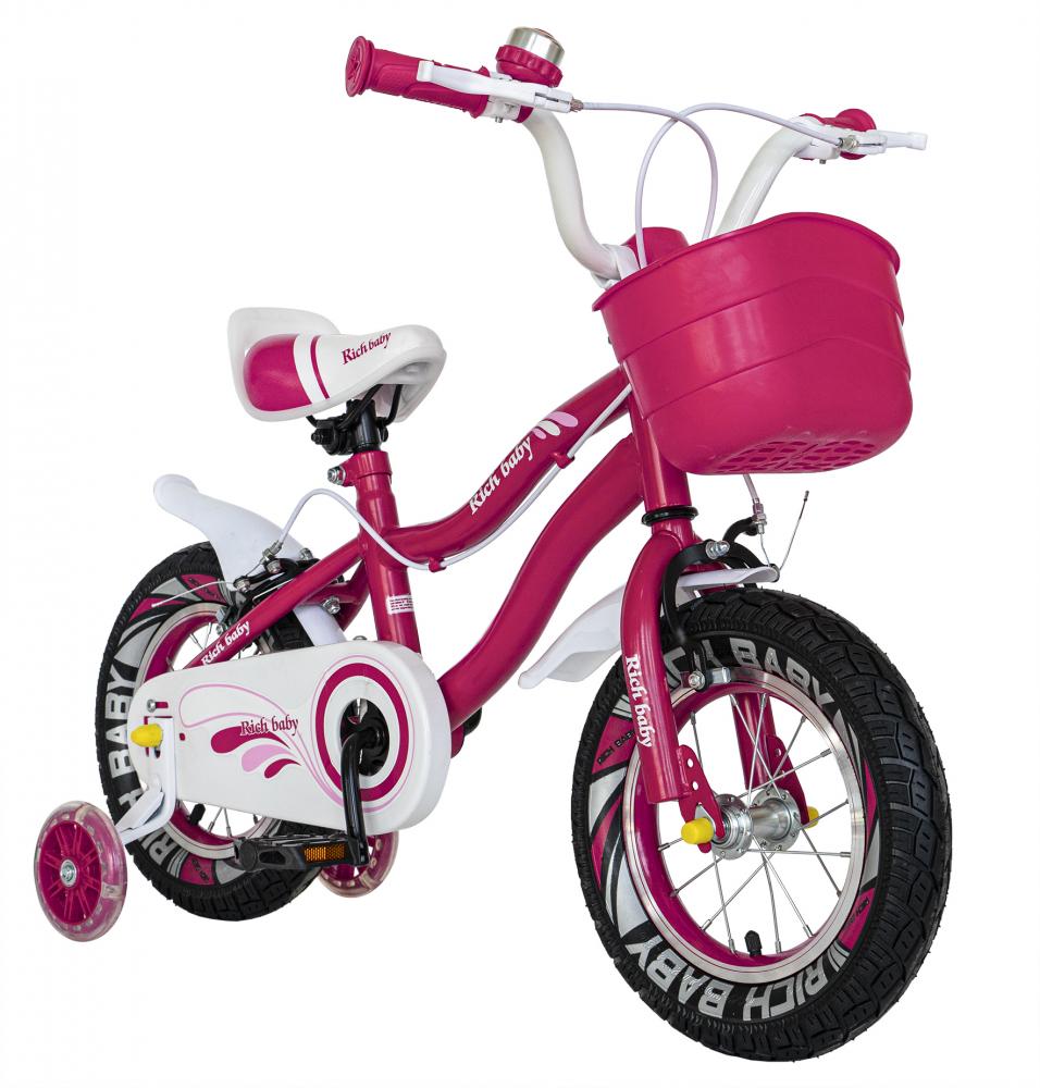 Bicicleta fete 2-4 ani 12 inch roti ajutatoare cu Led Rich Baby CSR1204A fucsia cu alb - 4