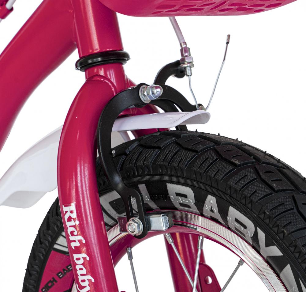 Bicicleta fete 2-4 ani 12 inch roti ajutatoare cu Led Rich Baby CSR1204A fucsia cu alb - 5