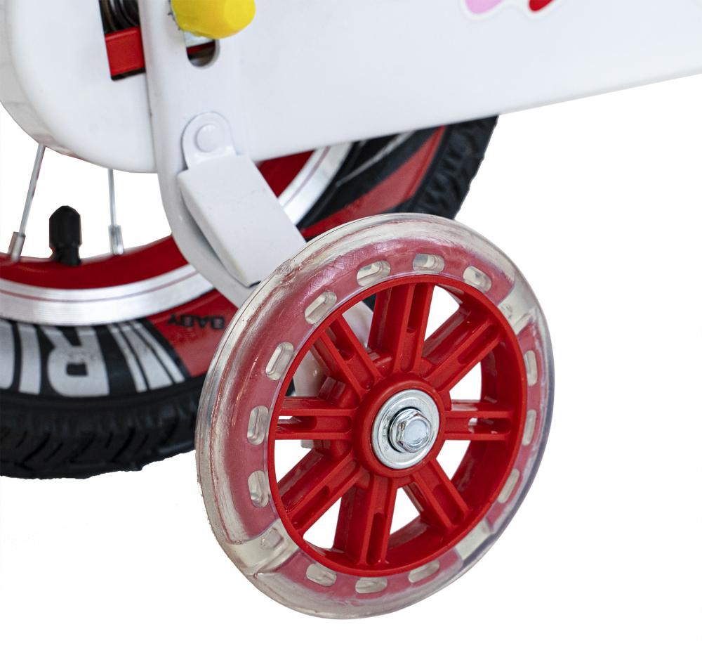 Bicicleta fete 2-4 ani 12 inch roti ajutatoare cu Led Rich Baby CSR1204A rosu cu alb