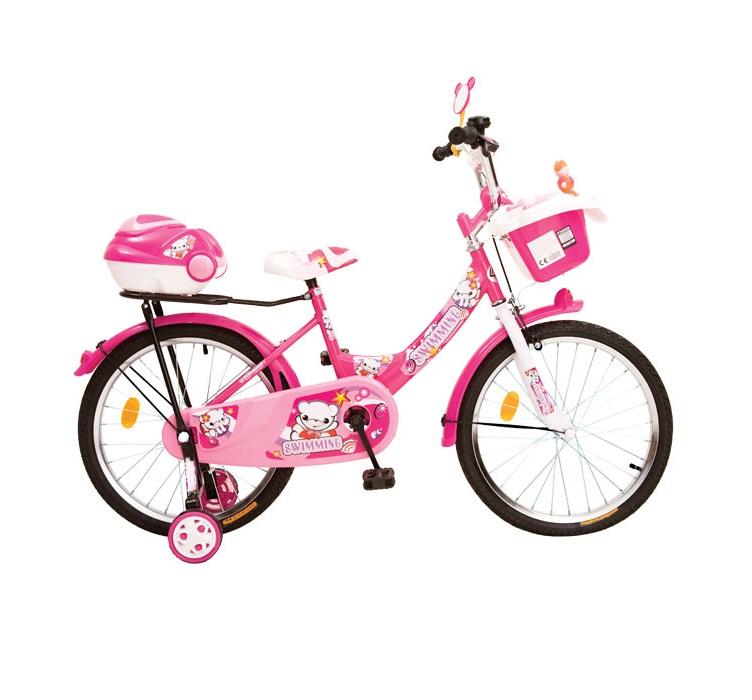 Bicicleta pentru copii cu roti ajutatoare Racer Pink 20 inch