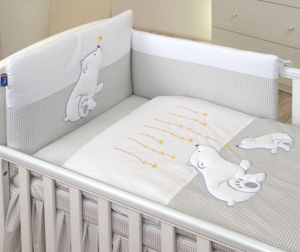 Cearsaf din bumbac cu volanas pentru patutul bebelusului Beart Heart Grey 120 x 60 cm
