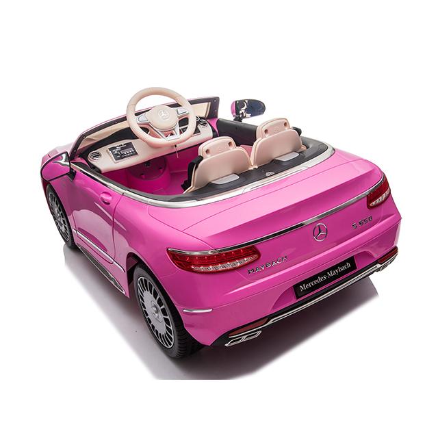 Masinuta electrica cu roti EVA si scaun din piele Mercedes Maybach S650 Cabriolet Pink