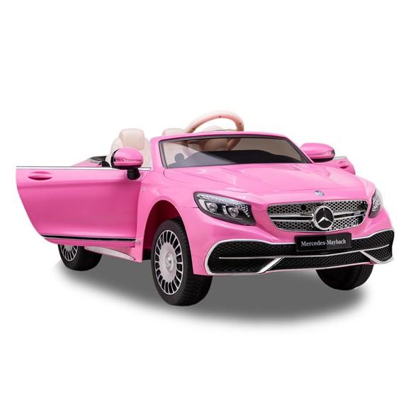 Masinuta electrica cu roti EVA si scaun din piele Mercedes Maybach S650 Cabriolet Pink - 1