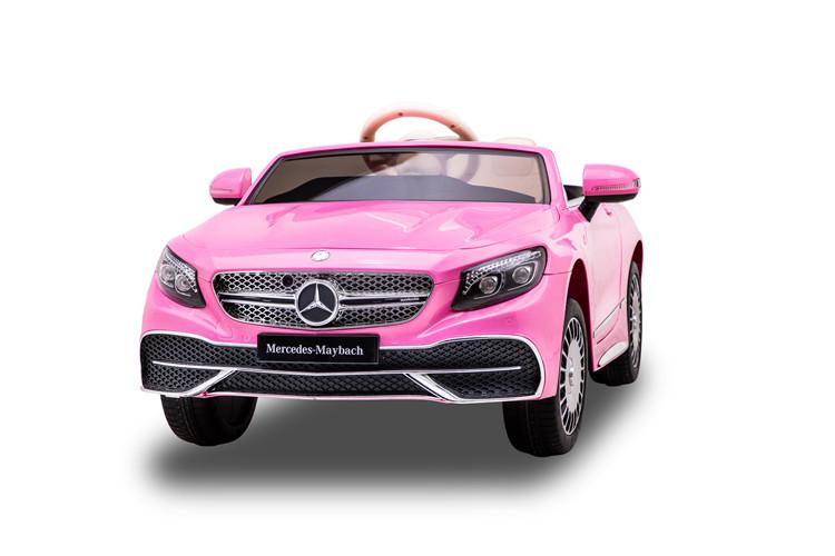 Masinuta electrica cu roti EVA si scaun din piele Mercedes Maybach S650 Cabriolet Pink - 2