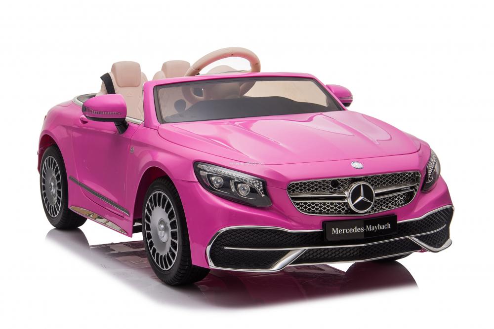 Masinuta electrica cu roti EVA si scaun din piele Mercedes Maybach S650 Cabriolet Pink - 4