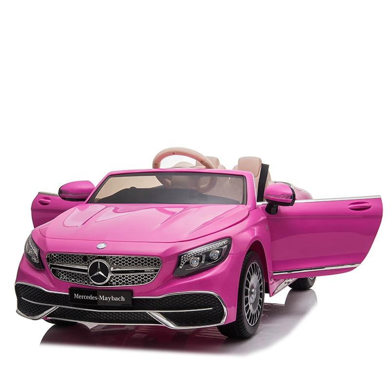 Masinuta electrica cu roti EVA si scaun din piele Mercedes Maybach S650 Cabriolet Pink - 5