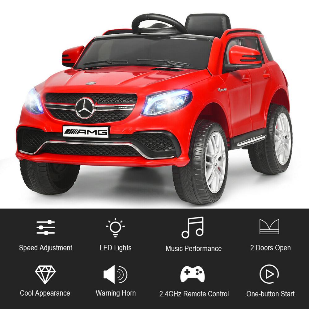 Masinuta electrica cu scaun din piele si roti EVA Mercedes Benz GLE63S AMG Red - 1