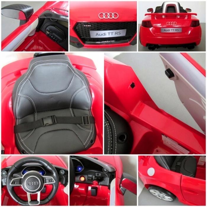 Masinuta electrica cu telecomanda roti Eva scaun piele Audi TT R-Sport Rosu - 2