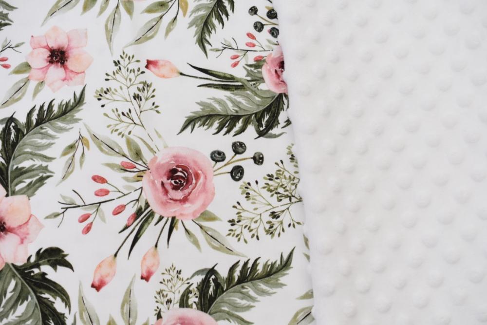 Paturica groasa nedetasabila model trandafiri si plus minky alb 100x140 cm