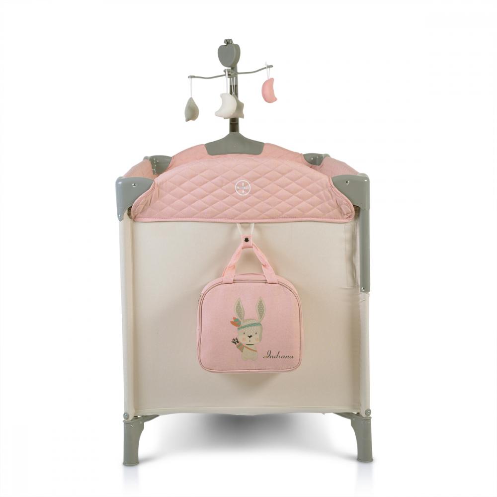 Patut pliabil cu 2 nivele si laterala culisanta Cangaroo Indiana Pink